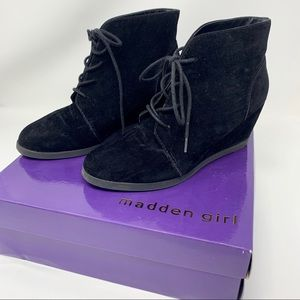 Madden Girl Domain Faux Suede Wedge Booties 8.5